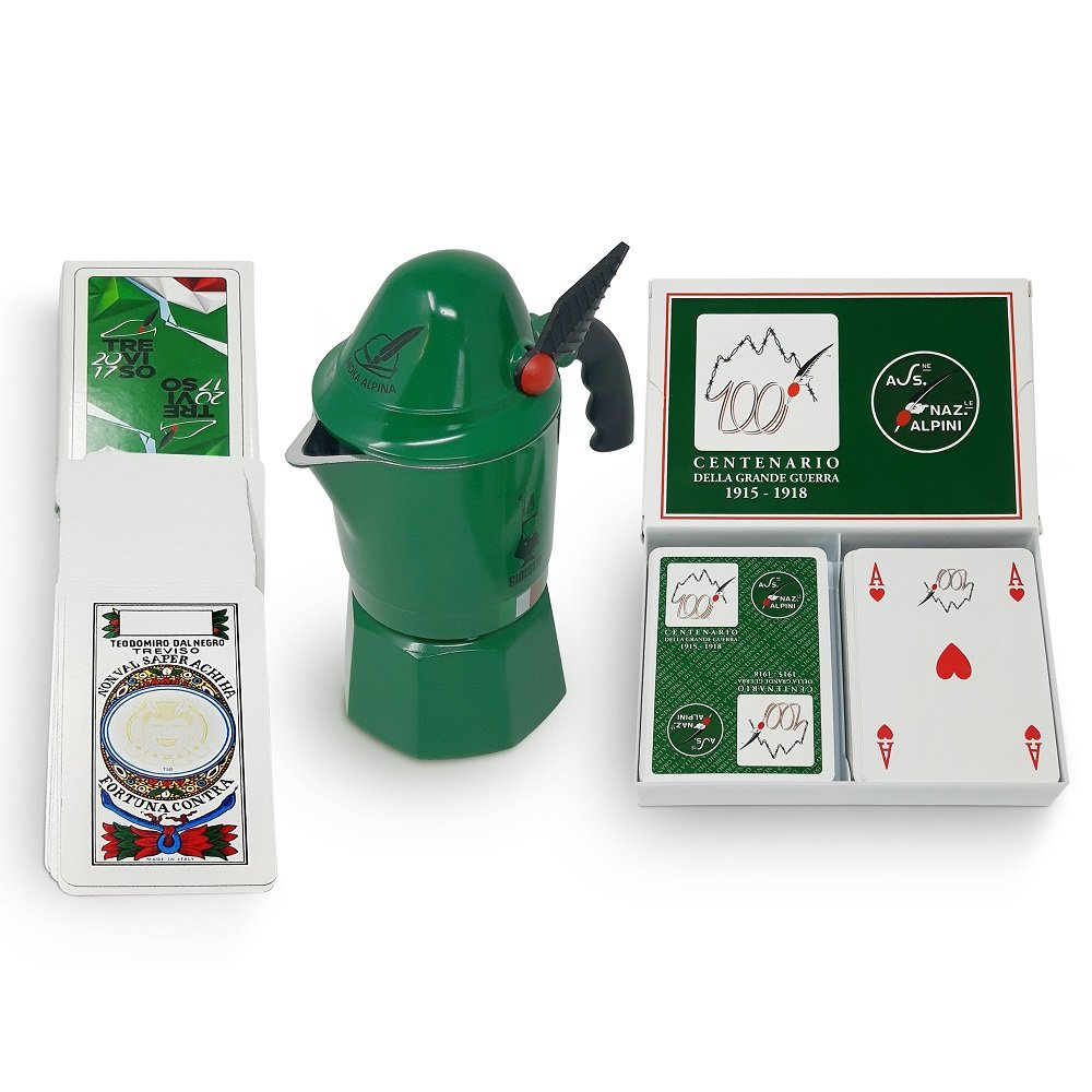 Bialetti Moka Alpina Bundle : Coffee maker 3 cup in alluminium - Poker Playing Card ( 2 Decks) -Trevisane Playing Card Dedicated to the Alpini Corps Limited Edition