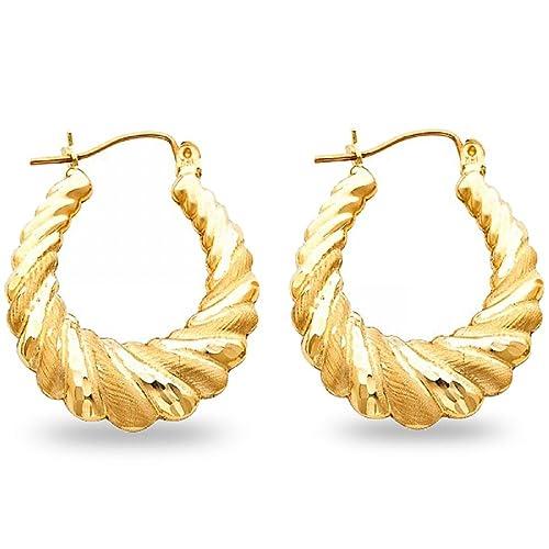 Amazon Com Shrimp Hoop Earrings Solid 14k Yellow Gold Hollow Matte