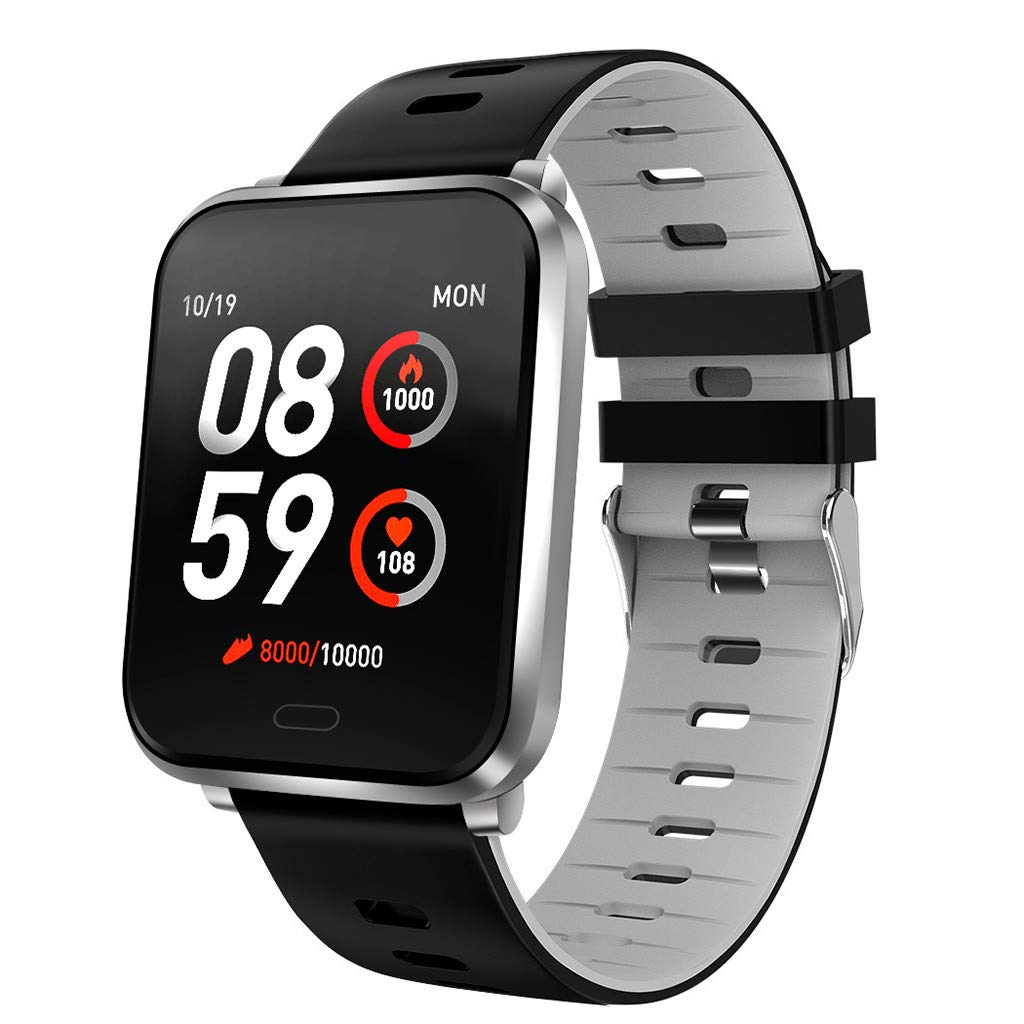 YNAA for Android iOS, Sport Smart Watch, Fitness Calorie Heart Rate Monitoring, Remote Photography Smart Bracelet (Gray)
