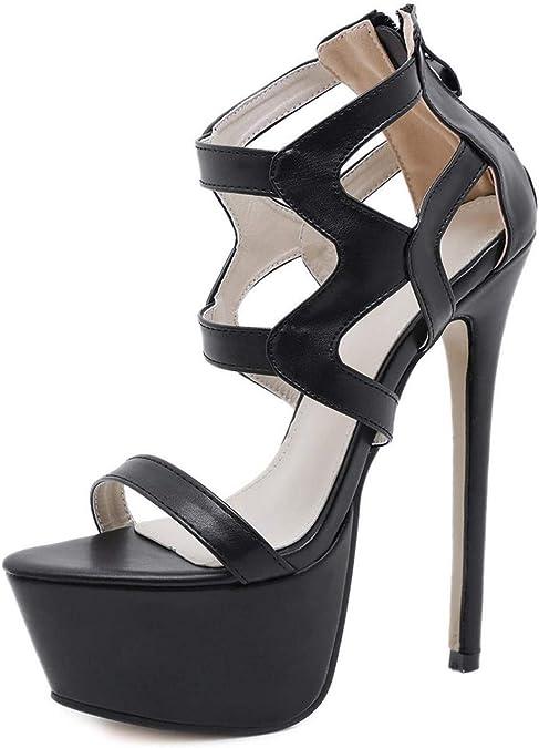 22 cm High Heels Stilettos High Plateforme Bride Cheville Escarpins Femme Parti Chaussures