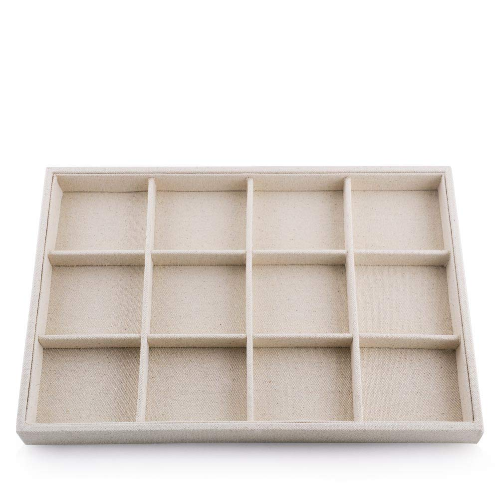 Oirlv Stackable 12 Girds Jewelry Trays Jewelry Storage Tray Showcase Display Organizer(13.8'' X 1.4''X 9.4'')