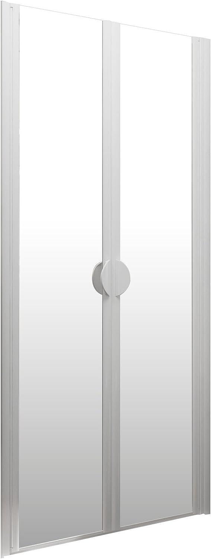 paroi en niche Schulte portes de douche battantes traitement anti-calcaire profil/é alu nature 90x180 cm verre transparent