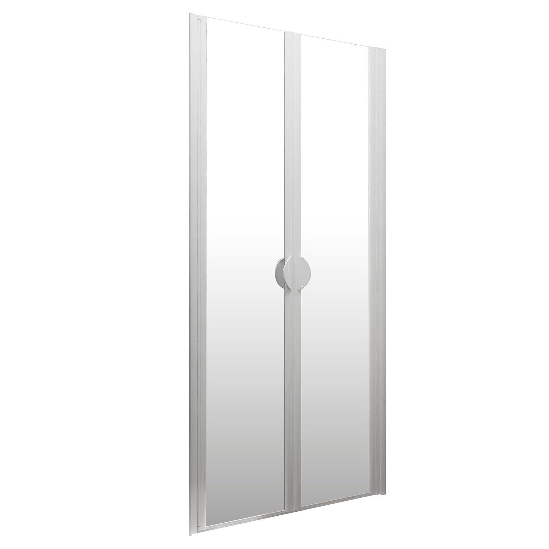 Schulte portes de douche battantes paroi en niche 80x180 cm profil/é alu nature traitement anti-calcaire verre transparent