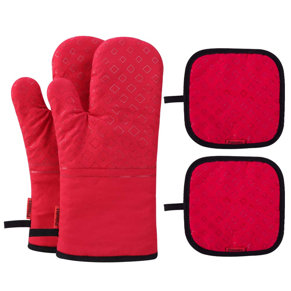 Piduules Set of 4 Oven Mitts and Pot Holders, 482 F Heat Resistant Hot Plate Moving Non-Slip Gloves for BBQ, Grill, Baking, Cooking, Oven, Microwave (Red)