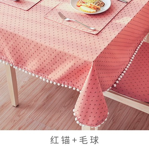 Creek Ywh Garden cotton tablecloth fabric coffee table tablecloth cover towel table cloth Japanese plaid striped round table rectangular tablecloth, red anchor + hair ball, 140200cm