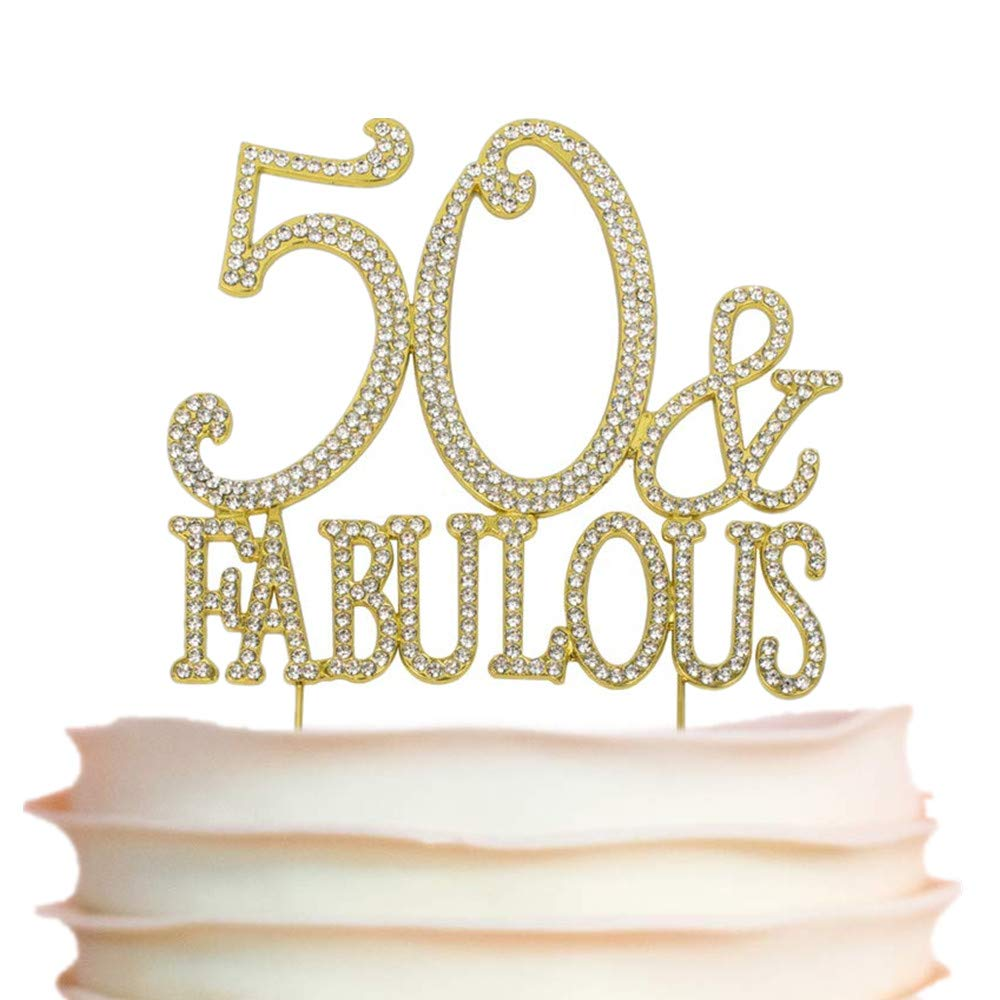 50 and Fabulous Rhinestone Cake Topper | Premium Sparkly Crystal Diamond Bling Gems | 50th Birthday Party Decoration Ideas | Quality Metal Alloy | Perfect Keepsake (50&Fabulous Gold)