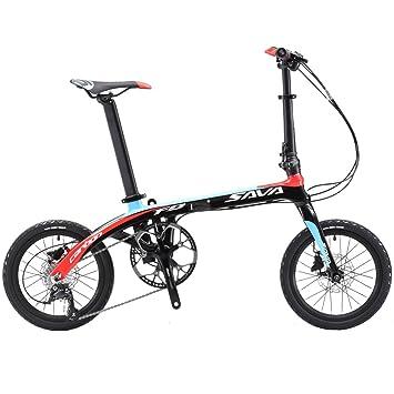 SAVADECK 16 Bicicleta Plegable Marco de Fibra de Carbono para niños Mini Bicicleta Plegable