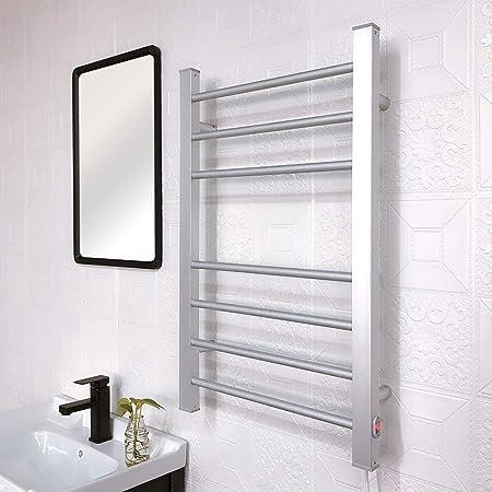 MIJOGO Toallero riel de Aluminio del radiador baño Escalera Enchufe de Montaje en Pared Prenda de Abrigo Bastidor radiador (Recto, 120W): Amazon.es: Hogar