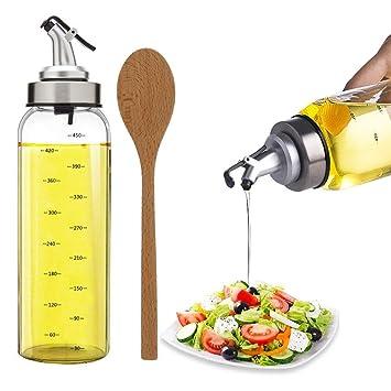 TIMGOU - Dispensador de aceite de oliva con cuchara para ensalada de madera de 9,