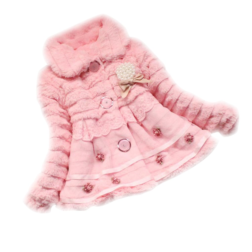 Chilie Girls Floral Faux Fur Fleece Bow Tie Yarn Lapel Winter Thick Warm Jacket Princess Outwear Coat