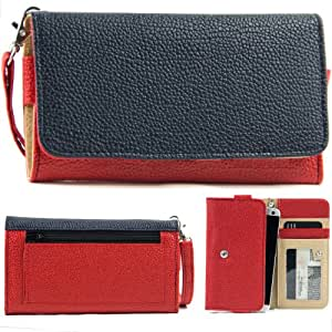 EXXIST® Classic Metro Series. Patent Leather Wallet / Clutch for ZTE Nubia Z5 mini CDMA NX402 (Color: Dark Blue / Red) -ESMLMTRB