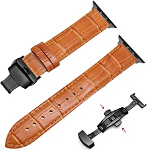 42mm/44mm Iwatch Band Men Women - Luxury Replacement Wristband for Apple Smart Watch Series 3/Series 4 Strap - Top Grain Leather (Light Brown+Black Adapter, for Apple iwatch 42/44mm)