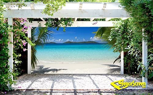 Tropical Ocean delantero, Patio y cenador telón de fondo Pantalla ...
