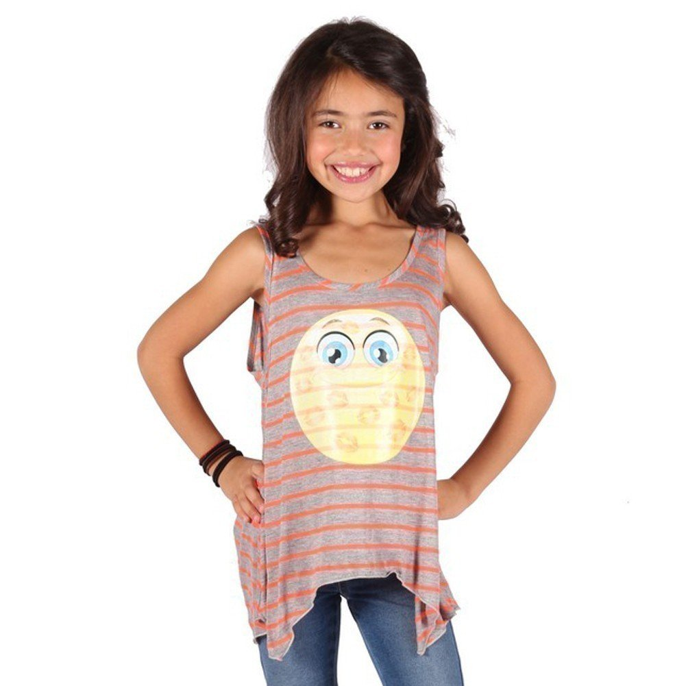 Lori/&Jane Girls Gray Yellow Stripe Emoticon Print Trendy Tank Top 6-14