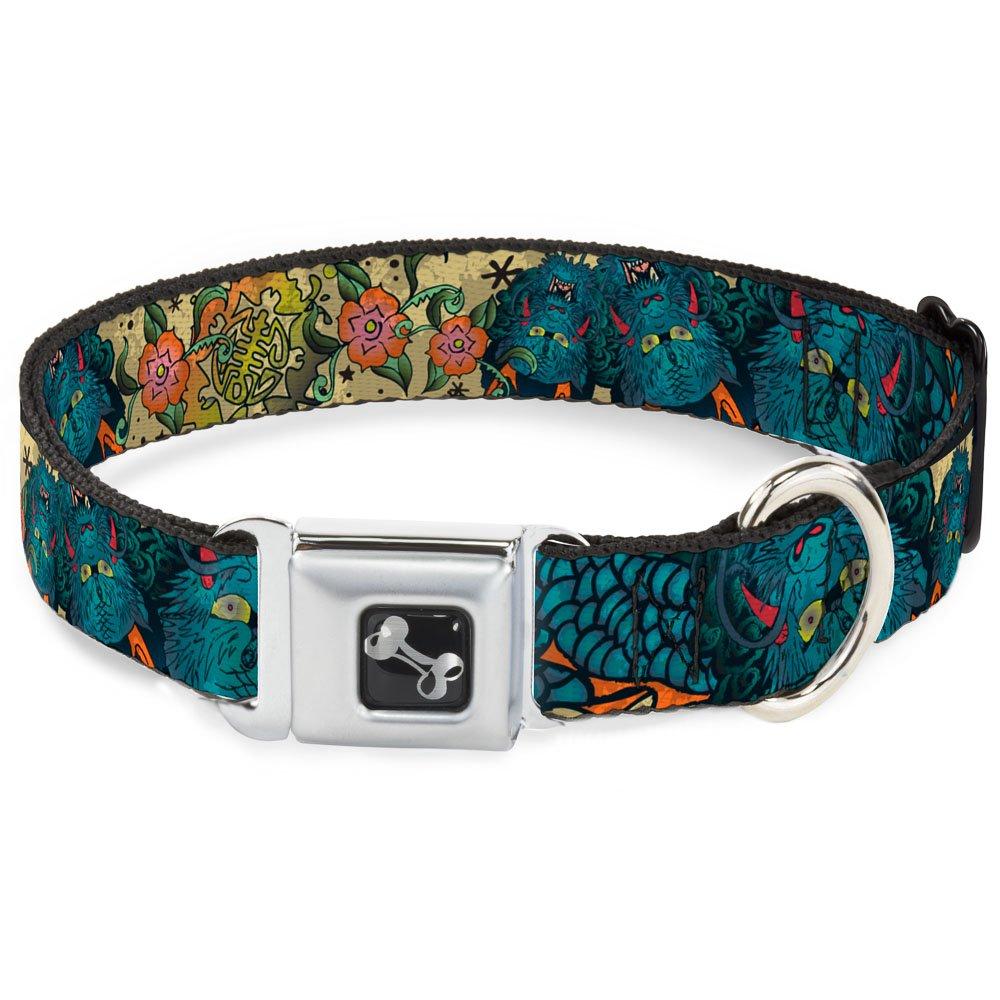 Buckle-Down Honor Closeup Tan Dog Collar Bone, Wide Small 13-18
