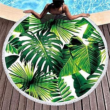 Toalla de Playa Redonda para Tomar el Sol de Plantas Tropicales ...