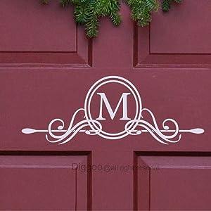 """Diggoo Family Initial M Name Vinyl Door Decal Monogram Vinyl Lettering Welcome Front Door Decor (4.5"""" h x 12"""" w, White)"""