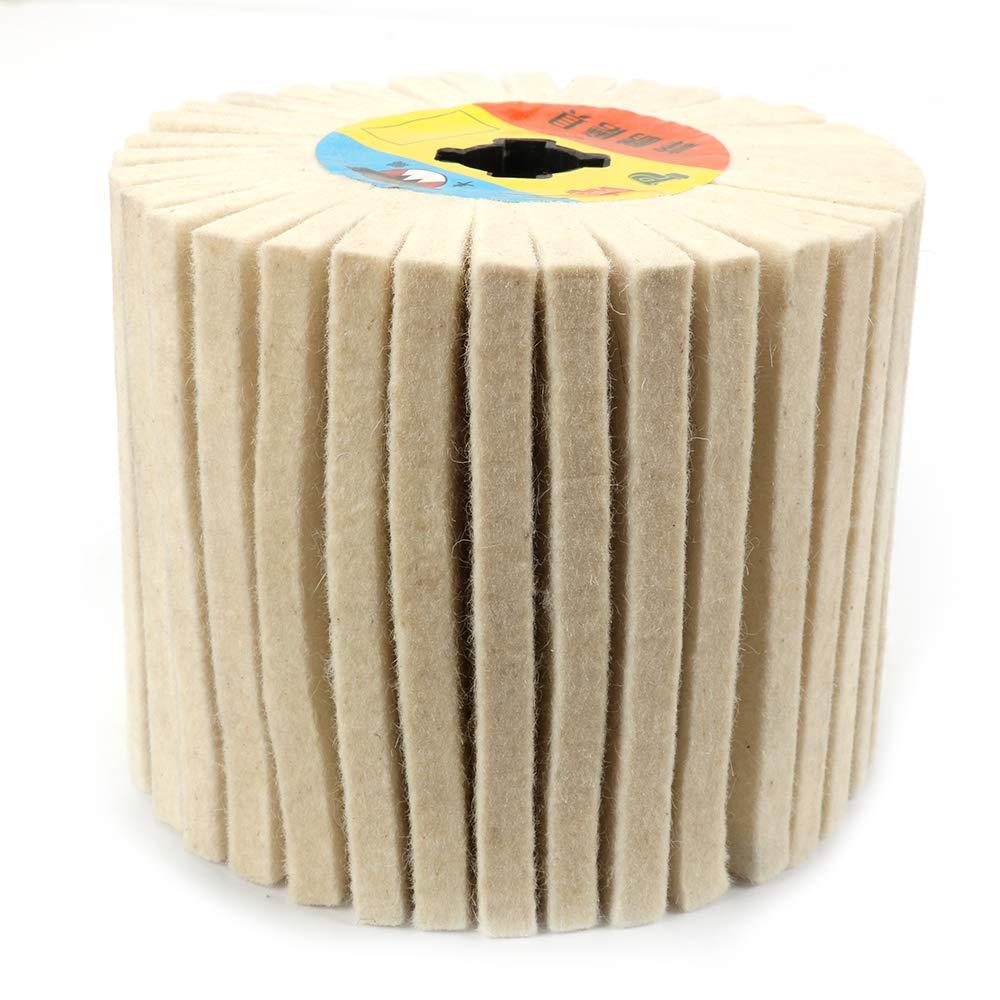 Join Ware 4'' Wool Abrasive Flap Wire Drawing Polishing Burnishing Wheel for Polishing