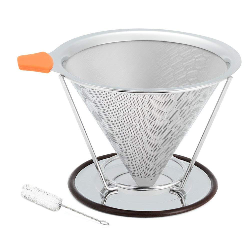 Stainless Steel Pour Over Coffee Filter with Stand, Honeycomb Design Reusable Pour Over Coffee Cone Dripper with Cleaning Brush, No Need for Paper Filters (1-3 Cups) langpin