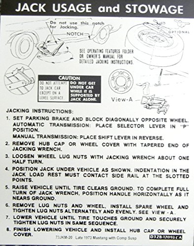 (LATE 1972 EARLY 1973 FORD MUSTANG With COMPETITION SUSPENSION JACKING And STOWAGE INSTRUCTIONS DECAL - STICKER)