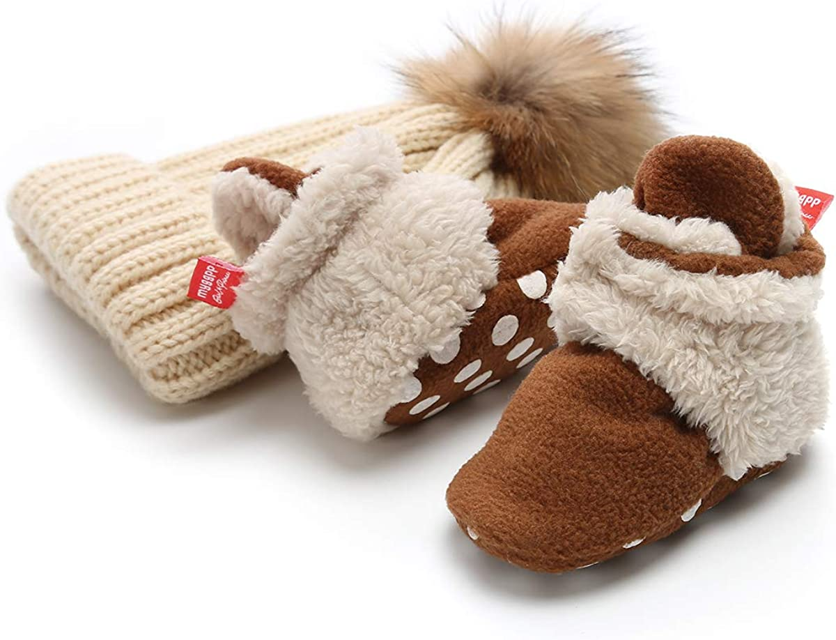 Isbasic Newborn Baby Boys Girls Cozy Booties Fleece Lined Non-Slip Sole Infant Winter Warm Toddler Slippers Socks Shoes Knit Pom Pom Hat