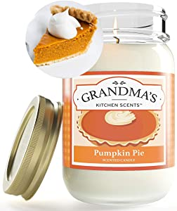 Pumpkin Pie Spice Scented Candles for Home | Non Toxic Long Lasting Soy Candles | Delicious Scent | Large 16 oz Mason Jar | Hand Made in The USA