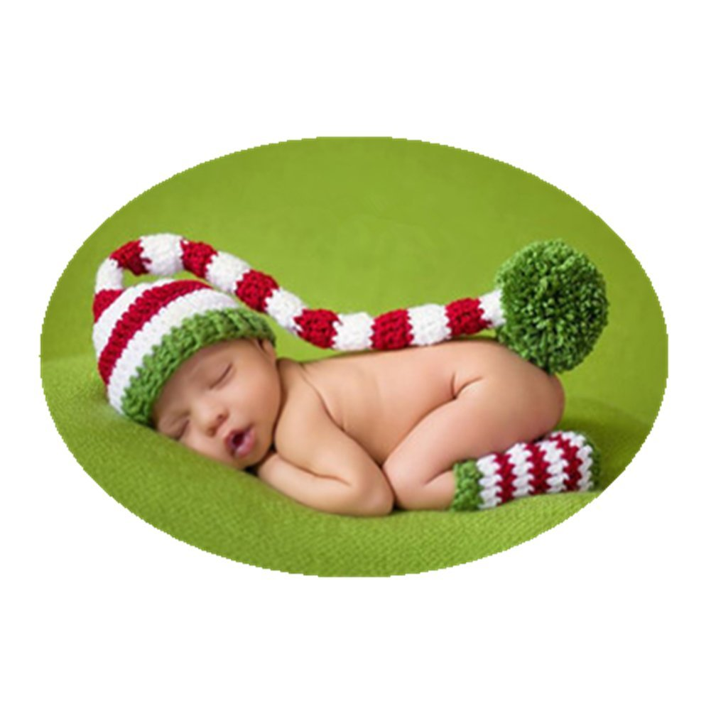 Fashion Cute Newborn Baby Photography Props Outfits Boy Girl Knitted Christmas Hat Socks Photo Shoot Costume Vemonllas HB007