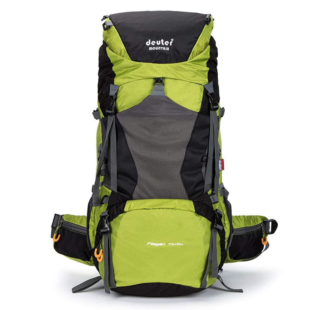 登山バックパック70 + 10L大容量オックスフォード防水通気性防災ウェアラブルトラベルバッグアウトドア多目的キャンプロッククライミングライディングピクニックバッグ  green B07QSR9L7Y