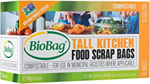 BioBag Compostable Kitchen Food Scrap Bags, 13 Gallon, 144 Count