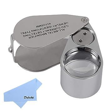 Amazon.com: Lupa de metal con iluminación para joyería de 40 ...