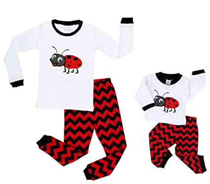 Elowel Ladybug Matching Girl & Doll 2 Piece Pajama Set 100% Cotton 2 Years