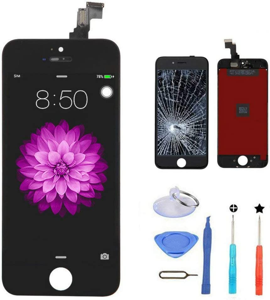 iPhone 5c Screen Replacement Black,LCD Display & Touch Screen Digitizer with 3D Touch Frame Assembly Set for iPhone 5c 4.7 inch with Repair Tool kit