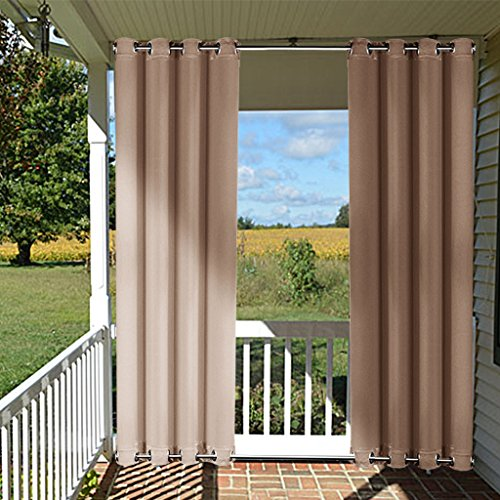 Outdoor Curtain Panel for Patio - NICETOWN Home Decorations Thermal Insulated Top and Bottom Grommets Blackout Indoor Outdoor Curtain / Drape, Windproof (Single Panel,52 x 95-Inch, Tan-Khaki) (Patio Decoration Ideas)