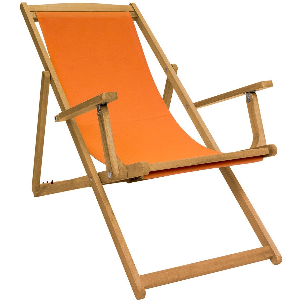 Orange Charles Bentley FSC Eucalyptus Wooden Foldable Deck Chair