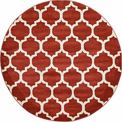 (Unique Loom Trellis Collection Moroccan Lattice Red Round Rug (6' 0 x 6' 0))
