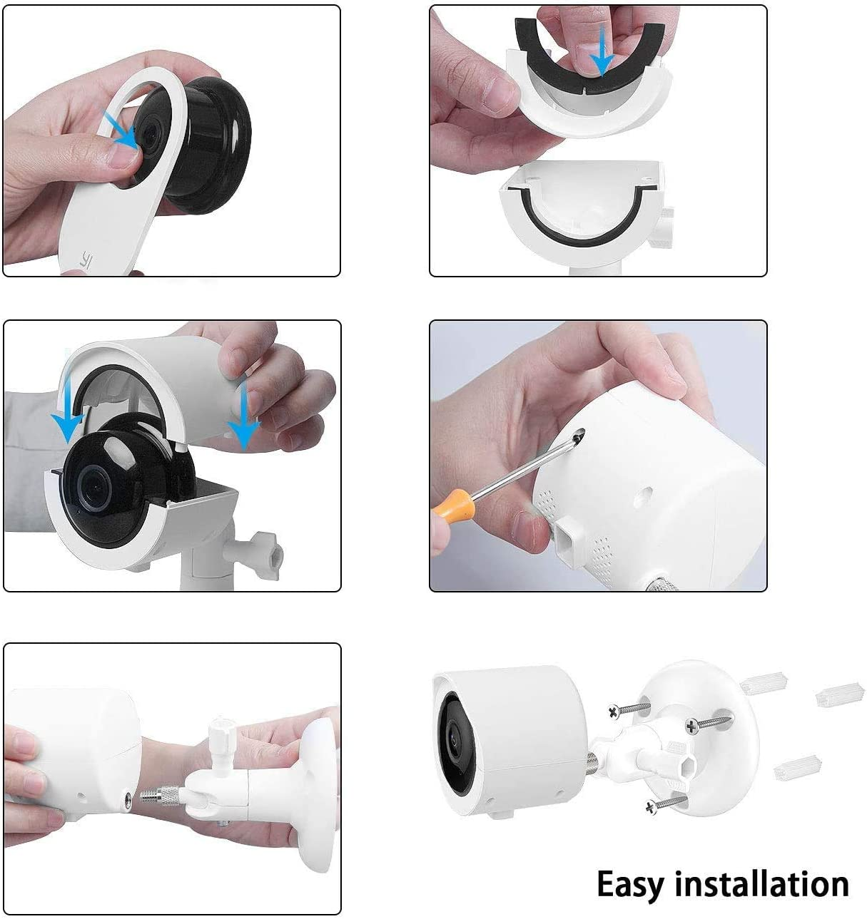 Indoor//Outdoor Security Bracket More Stable and Flexible Weatherproof Case for YI 1080p Home Camera 1-Pack, White Koroao Wall Mount