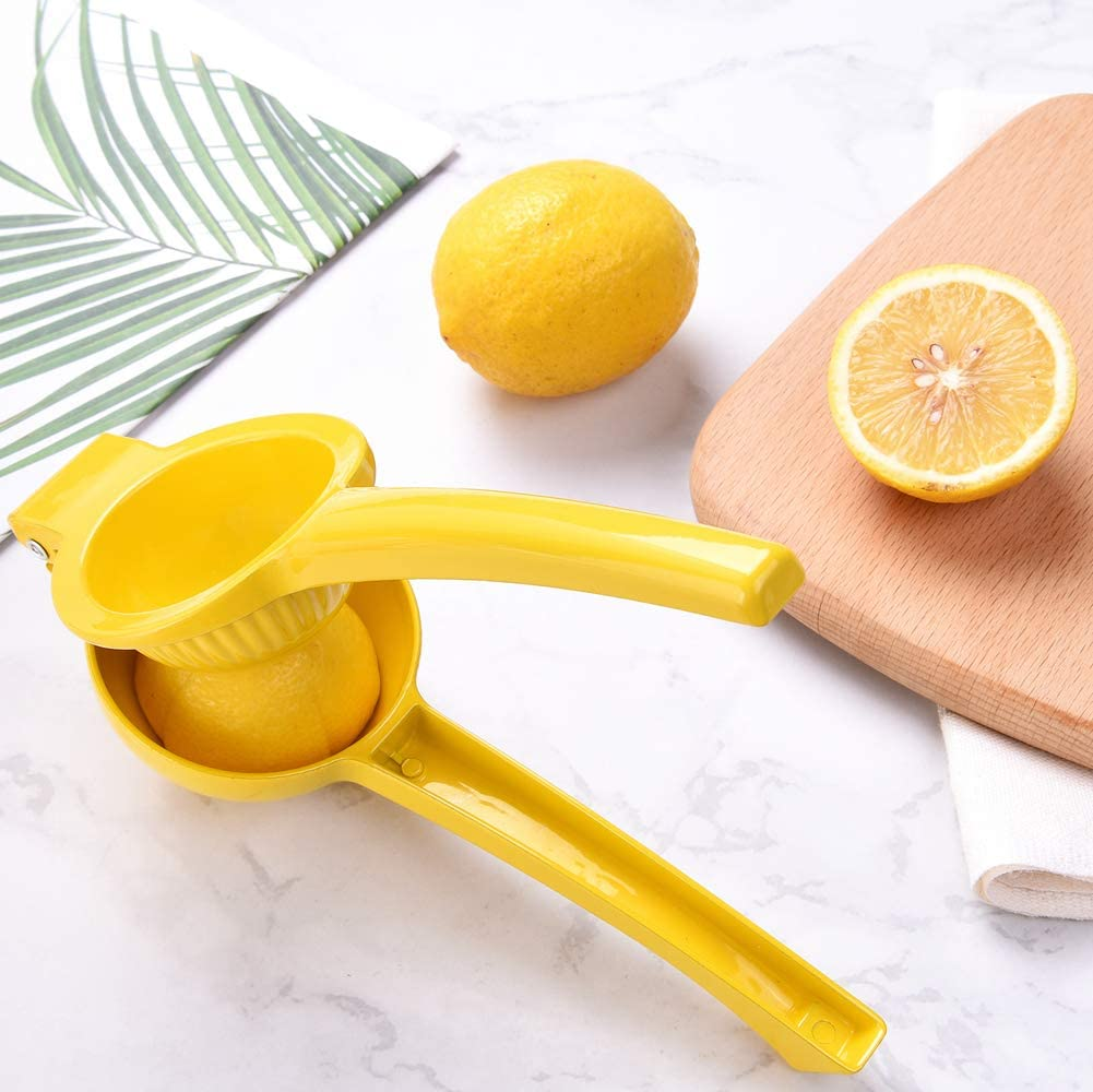 Lime squeezer manual lime press metal lemon juicer heavy duty hand fruit extractor (Single-Yellow)