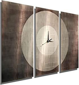 Statements2000 Abstract Modern Silver, Grey and Jewel-Toned Metallic Wall Clock Sculpture - Multi-Piece Contemporary Home Office Decor Art Accent - Dynamic Onyx by Jon Allen