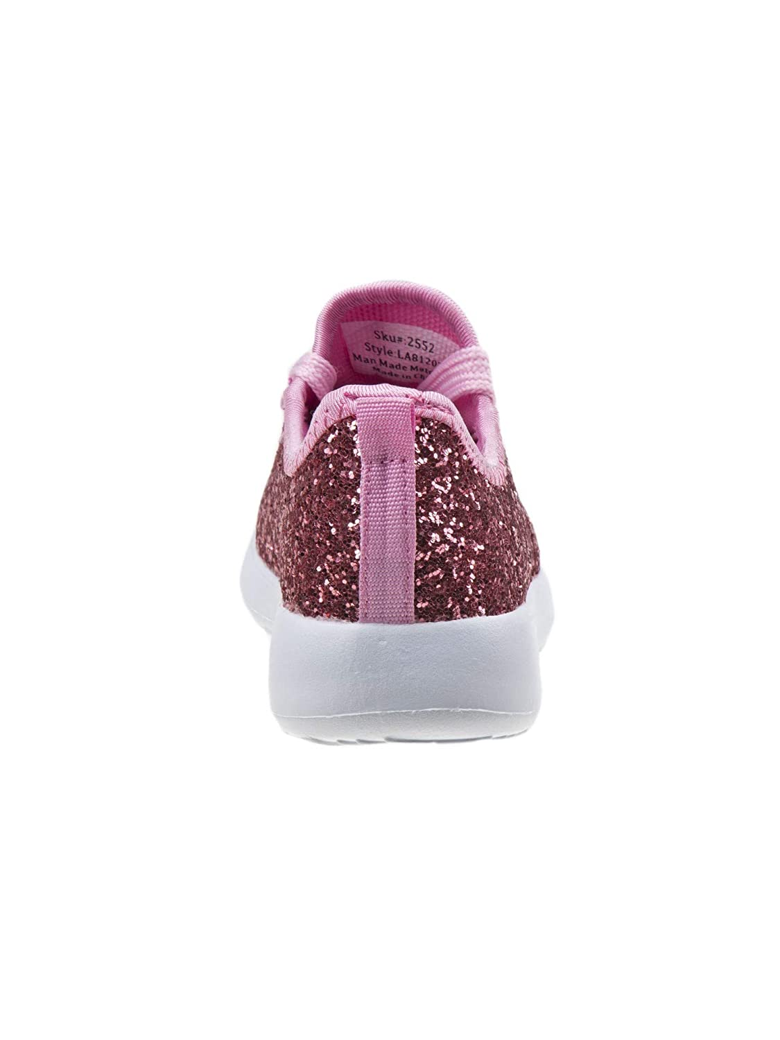 Laura Ashley Girls Pink Glitter Texture Lace-Up Trendy Sneakers 11-12 Kids