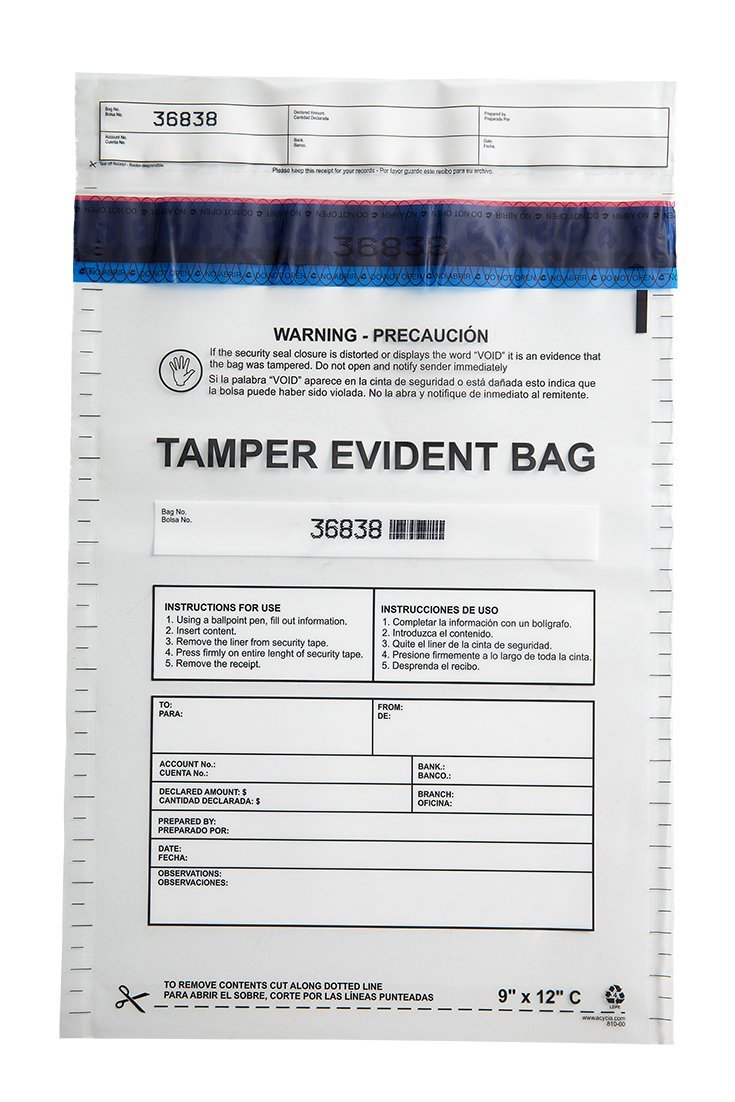 """Clear Tamper Evident Plastic Bags, Security Bags. 9""""x12"""" (100 Bags x Package) Ref: 810-00"""