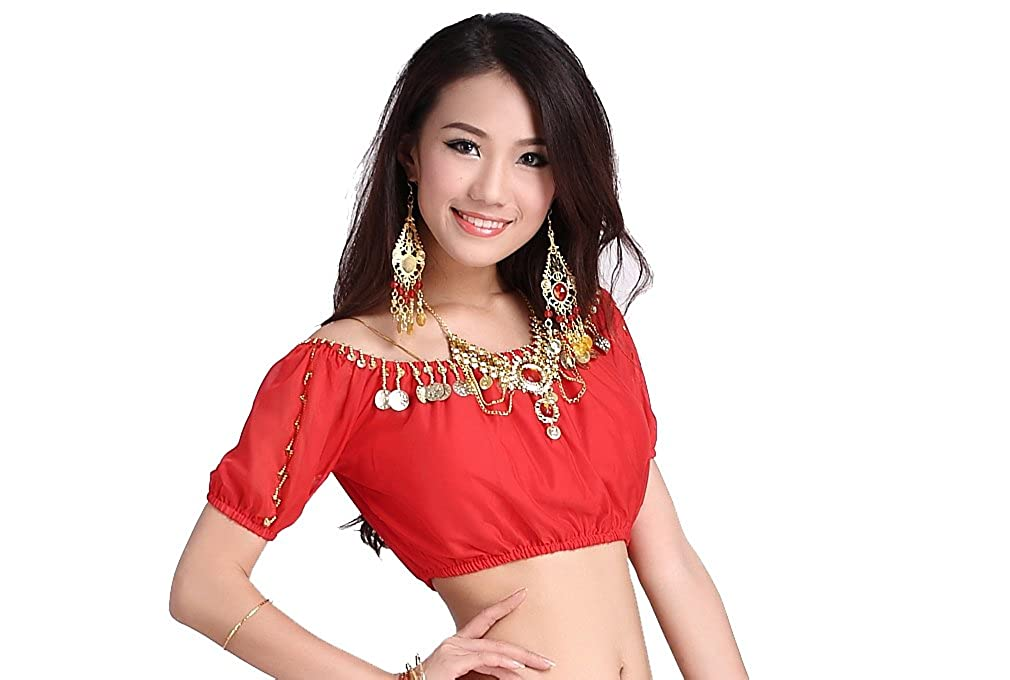 ZLTdream Lady's Belly Dance Lanterns Short Sleeve Bra Top With Chest Pad One Size FM5043