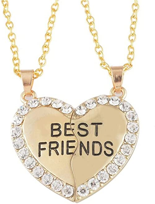 Any Two Names Two Chains Necklace Forever Best Friends BFF Couples Breakable Heart Pendant