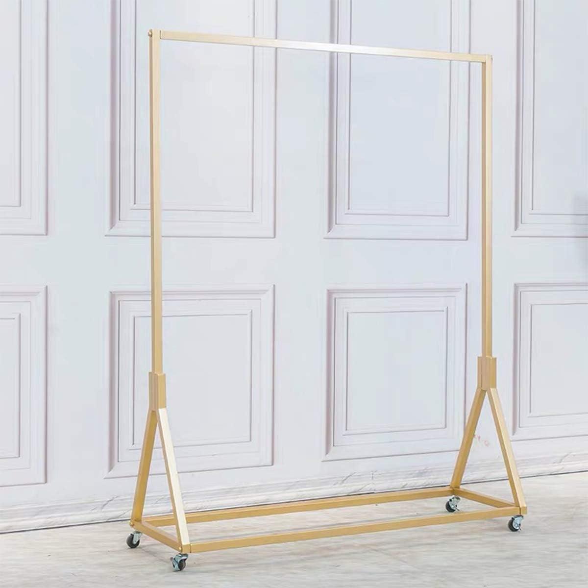 FURVOKIA Modernes schweres Metall-Rollkleidungsgestell mit Rad einfaches bodenst/ändige Kleiderb/ügel aus Eisen Gold Square Tube B, 47,2 l Einzelhandels-Kleiderst/änder mit Holz