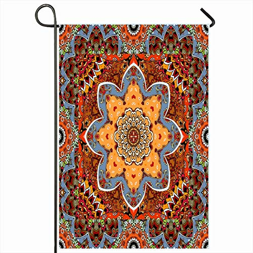 Ahawoso Outdoor Garden Flag 12x18 Inches Bandana Blue Autumn Lovely Carpet Rosette Scarf Ornamental Arabic Brown Blossom Border Ethnic Home Decor Seasonal Double Sides House Yard Sign Banner