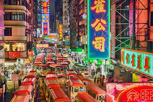 Hong Kong Street at Night Photo Art Print Poster 36x24 inch