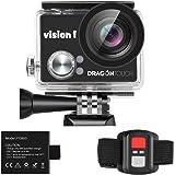 Dragon Touch VISION 1 アクションカメラ 1080PフルHD 高画質 30メートル防水 2インチ液晶画面 2.4G無線RF バイク/自転車/車に取り付け可能 空撮やスポーツに最適 バッテリー&アクセサリー付き スポーツカメラ