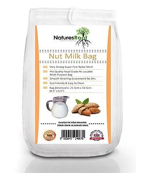 Natures Root Nut - Bolsa de leche de calidad comercial, bolsa de almendra reutilizable para