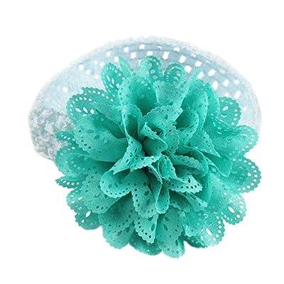Bandeau Bébé, Tonsee bande Bébés filles en mousseline de soie en dentelle Fleur Crochet Bandeau Dress Up Head (Bleu Clair)