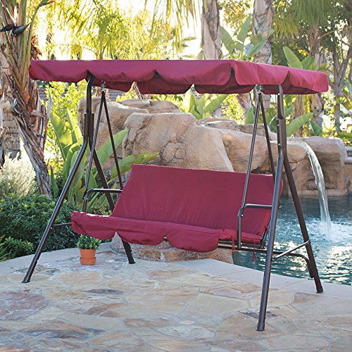 Outdoor 3 Person Swing Chair Garden Canopy Awning Patio Bench Water resistant UV protection Polyester Burgundy #578