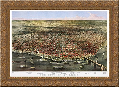 City of St. Louis. Bird's-eye view of St. Louis, Missouri, as seen from above the Mississippi River 24x18 Gold Ornate Wood Framed Canvas Art by Currier and - St Louis Missouri Galleria